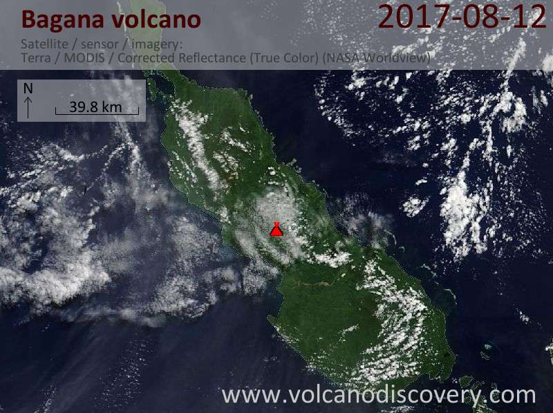Satellite image of Bagana volcano on 12 Aug 2017