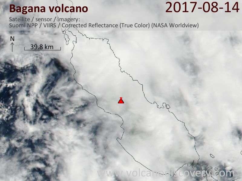 Satellite image of Bagana volcano on 14 Aug 2017