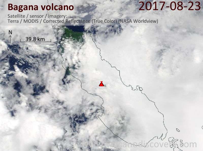 Satellite image of Bagana volcano on 23 Aug 2017