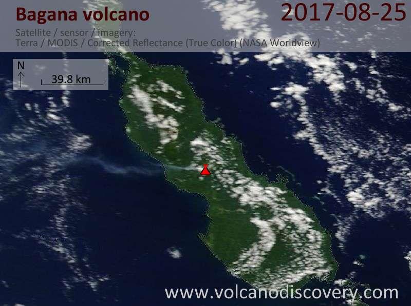 Satellite image of Bagana volcano on 25 Aug 2017
