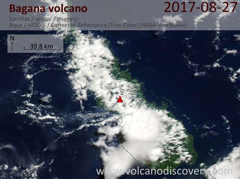 Satellite image of Bagana volcano on 27 Aug 2017