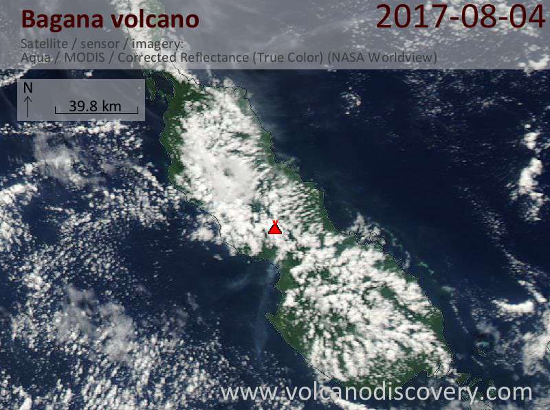 Satellite image of Bagana volcano on  4 Aug 2017