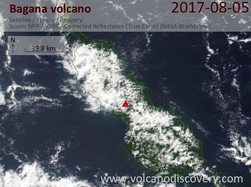 Satellite image of Bagana volcano on  7 Aug 2017