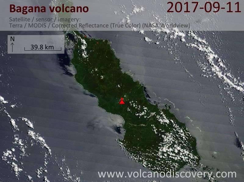 Satellite image of Bagana volcano on 11 Sep 2017