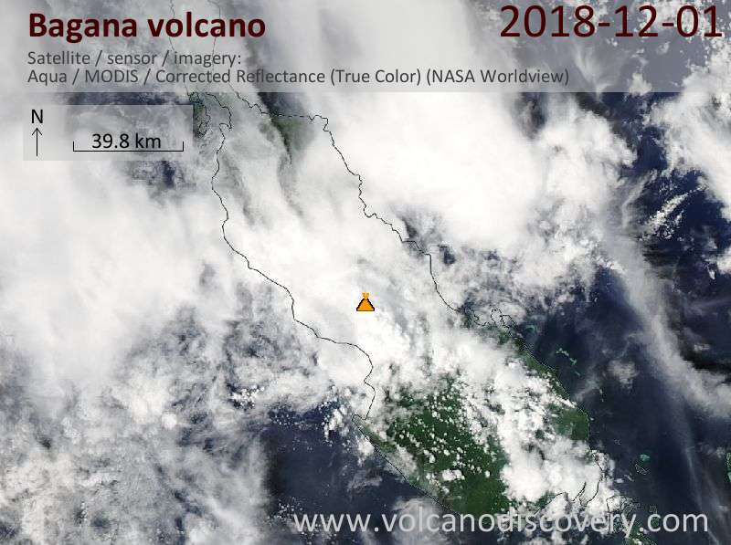 Satellite image of Bagana volcano on  1 Dec 2018