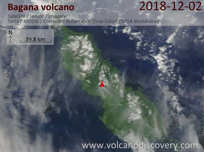 Satellite image of Bagana volcano on  2 Dec 2018