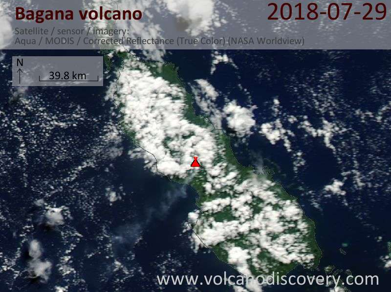 Satellite image of Bagana volcano on 28 Jul 2018