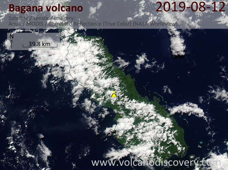 Satellitenbild des Bagana Vulkans am 12 Aug 2019