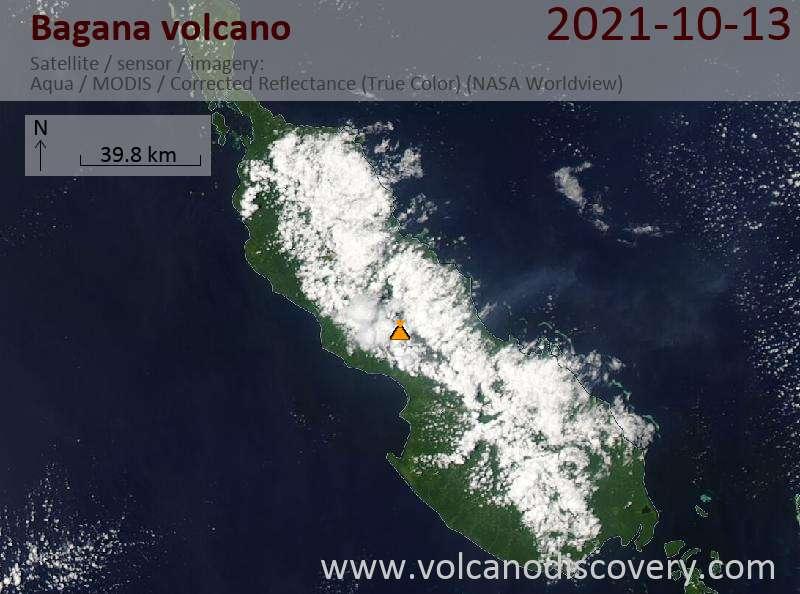 Satellite image of Bagana volcano on 13 Oct 2021