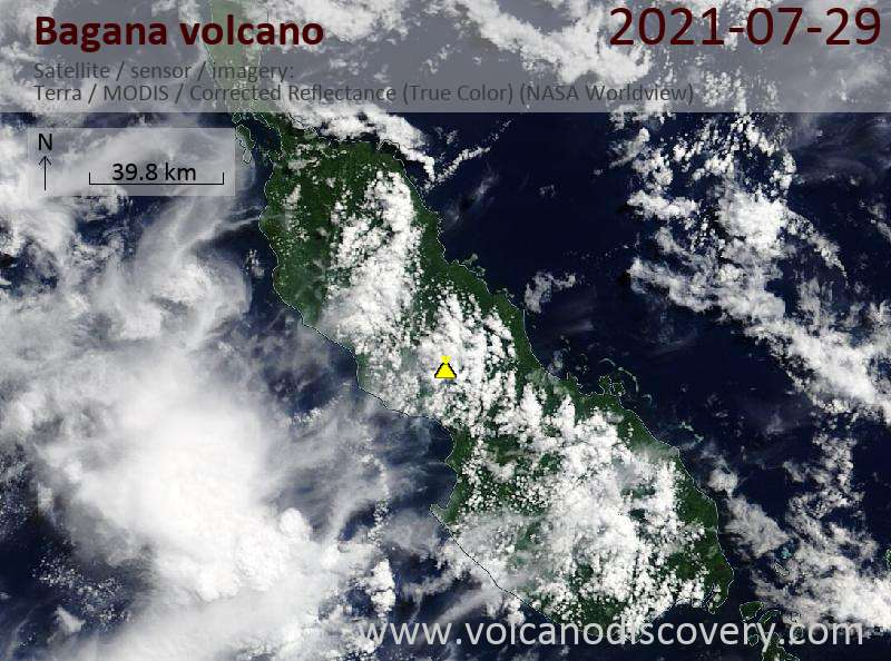 Satellite image of Bagana volcano on 31 Jul 2021