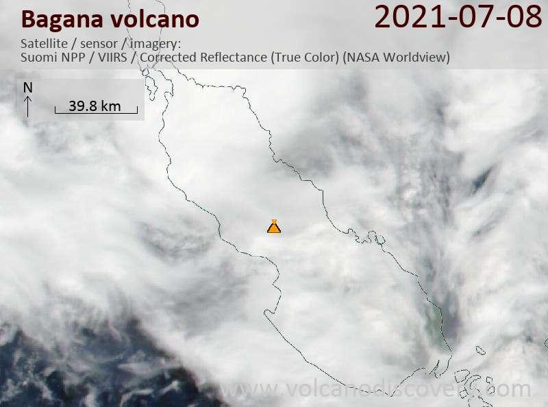 Satellite image of Bagana volcano on  9 Jul 2021