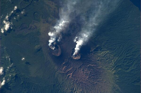 Ambrym volcano with Marum (l) and Benbow (r) vents seen from space on 2 Dec (photo: Mike Hopkins / Twitter)