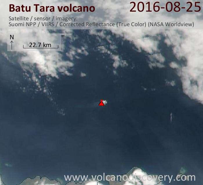 Steam plume from Batu Tara volcano today seen on Suomi NPP satellite (NASA)