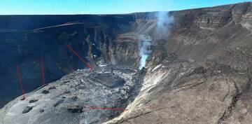 Red arrows show the floating islands in the lava lake at Kilauea volcano (image: HVO)