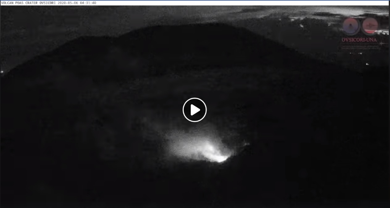 Incandescence from Poas volcano on 6 May (image: OVSICORI)