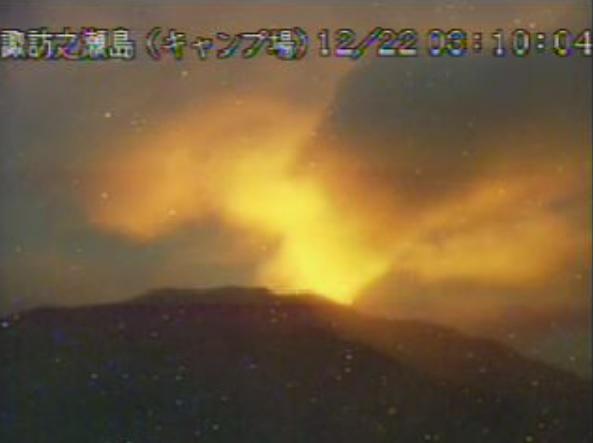 Strong glow continues to be active at Suwanosejima volcano (image: JMA)