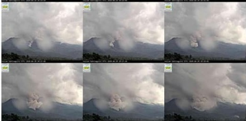 The sequence of webcam screenshots of pyroclastic flow from Santiaguito volcano (image: INSIVUMEH)