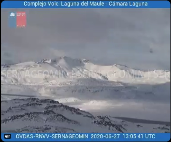 Laguna del Maule volcano covered by snow on 27 June (image: SERNAGEOMIN)