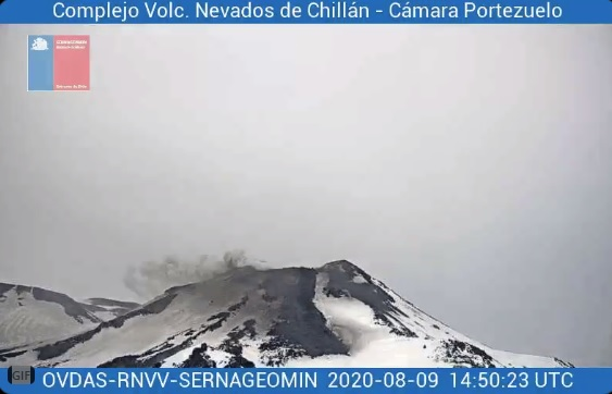 Lava flows from Nevados de Chillán volcano on 9 August (image: SERNAGEOMIN)