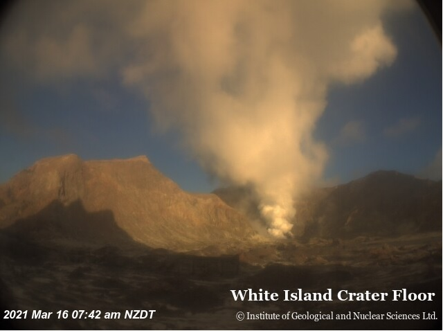 Steam and gas from White Island volcano active vent area yesterday (image: GeoNet)