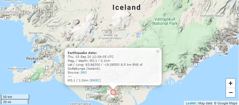 Earthquake detected near the Katla caldera yesterday (image: Volcano Discovery)
