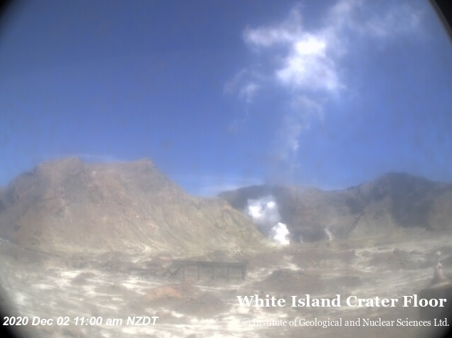 Low-level gas plumes at White Island volcano today (image: GeoNet)
