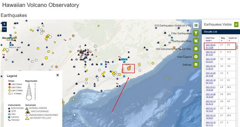Red arrow shows the location of the earthquake M 4.1 on 1 Feb; red frame in the upper right corner of image shows magnitude, depth and date/time of the earthquake (image: HVO)