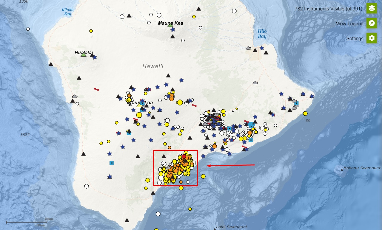 Distribution of the earthquakes (red frame) in Kaʻū district during the past month (image: HVO)