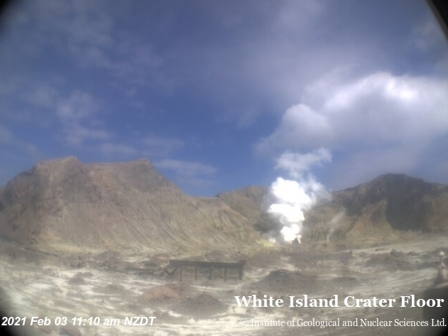 Gas emissions on the crater floor at White Island volcano today (image: GNS)