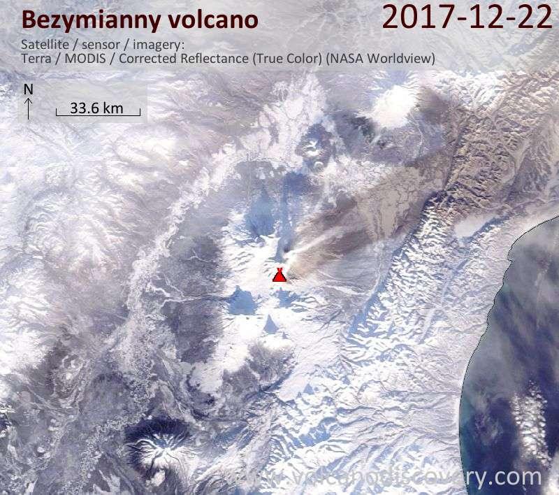Satellite image of Bezymianny volcano on 22 Dec 2017