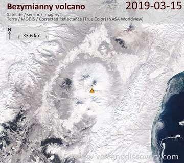 Satellite image of Bezymianny volcano on 15 Mar 2019