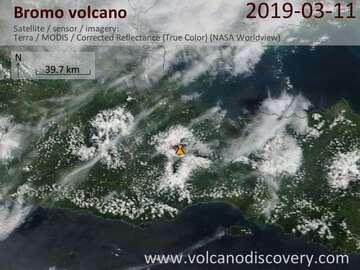 Satellite image of Bromo volcano on 11 Mar 2019