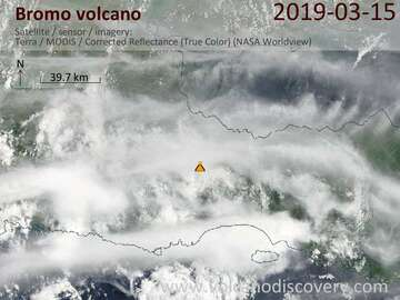 Satellite image of Bromo volcano on 15 Mar 2019