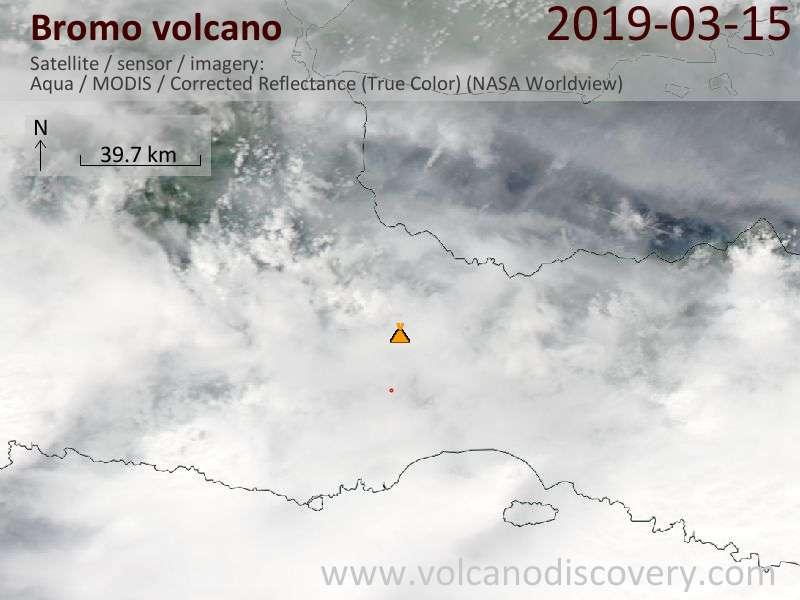 Satellite image of Bromo volcano on 16 Mar 2019