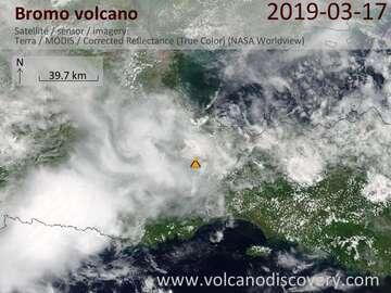 Satellite image of Bromo volcano on 17 Mar 2019
