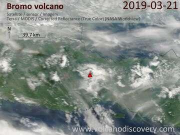 Satellite image of Bromo volcano on 21 Mar 2019
