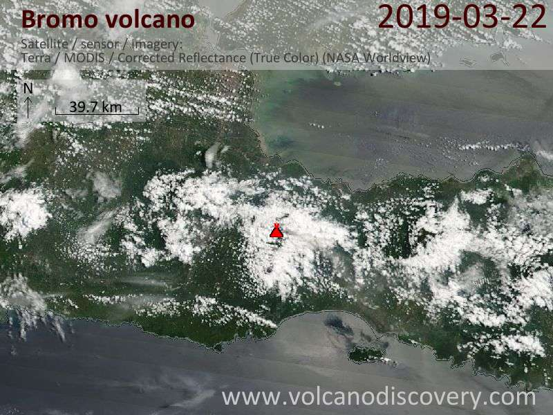 Satellite image of Bromo volcano on 22 Mar 2019