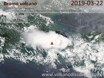Satellite image of Bromo volcano on 23 Mar 2019