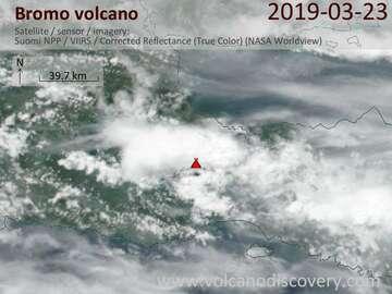 Satellite image of Bromo volcano on 24 Mar 2019