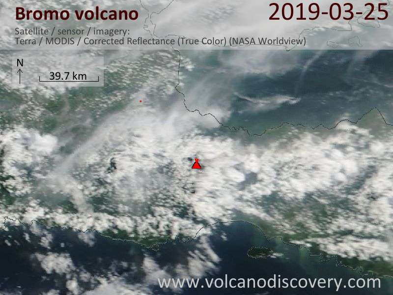 Satellite image of Bromo volcano on 25 Mar 2019
