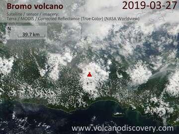 Satellite image of Bromo volcano on 27 Mar 2019