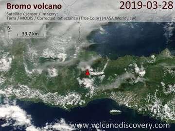 Satellite image of Bromo volcano on 28 Mar 2019