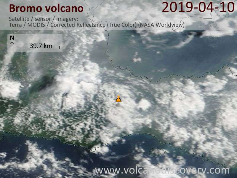 Satellitenbild des Bromo Vulkans am 10 Apr 2019