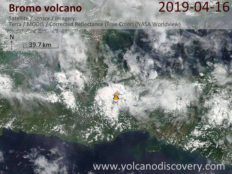 Satellite image of Bromo volcano on 16 Apr 2019