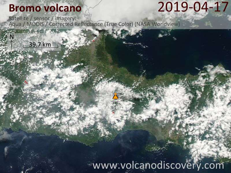 Satellite image of Bromo volcano on 17 Apr 2019