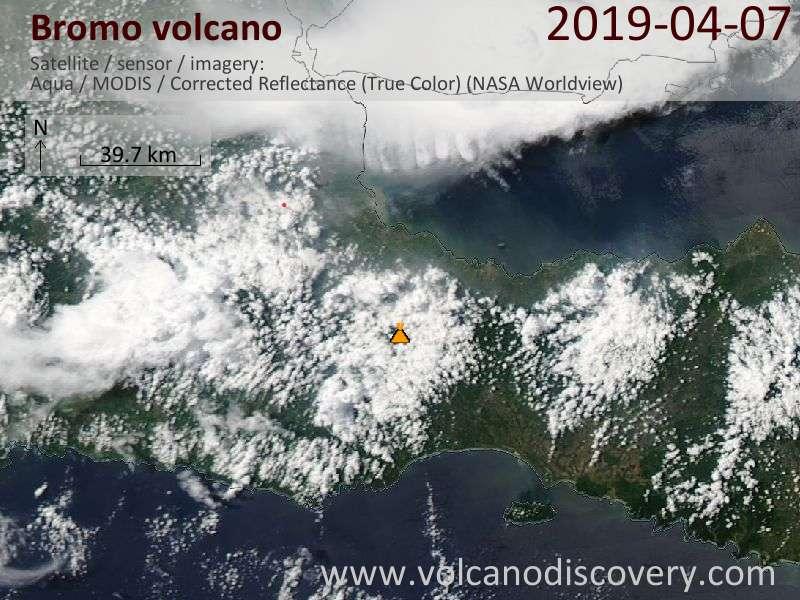 Satellitenbild des Bromo Vulkans am  8 Apr 2019