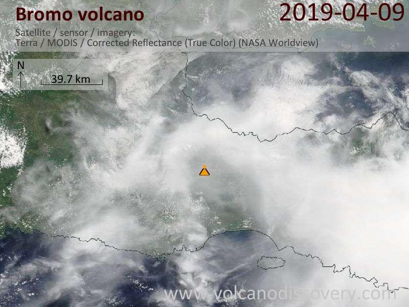Satellitenbild des Bromo Vulkans am  9 Apr 2019