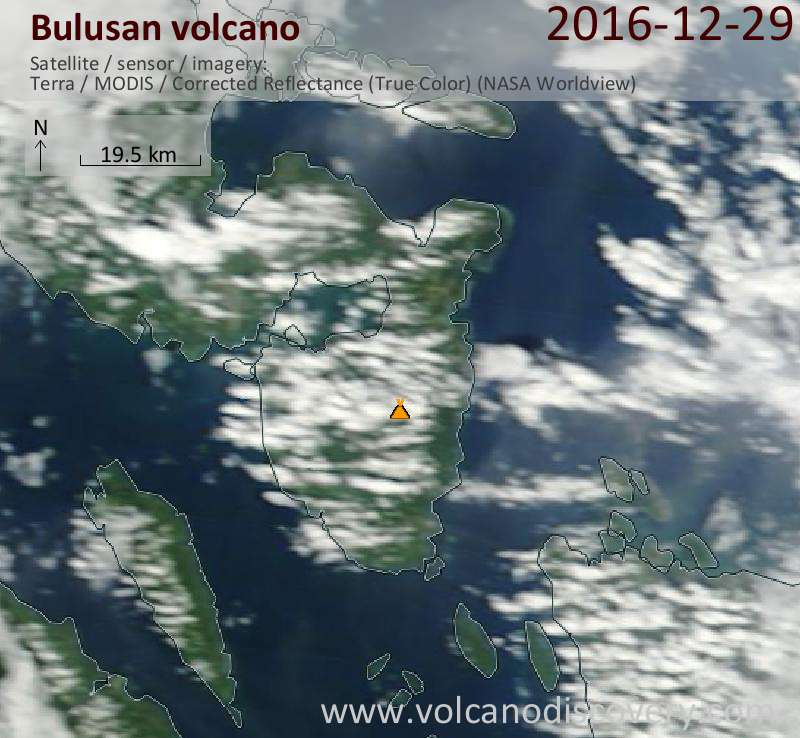 Satellite image of Bulusan volcano on 29 Dec 2016