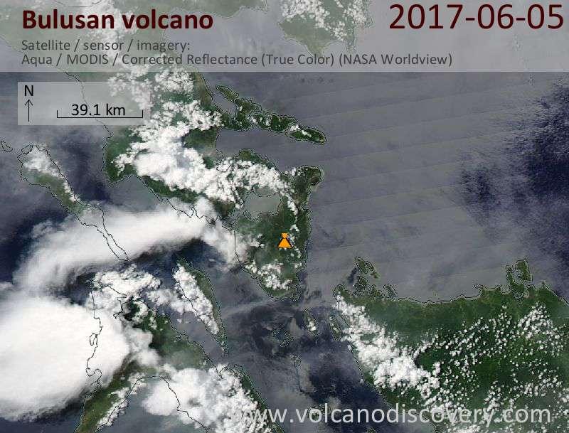 Satellite image of Bulusan volcano on  5 Jun 2017