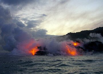 Lava sea entry seen from a boat